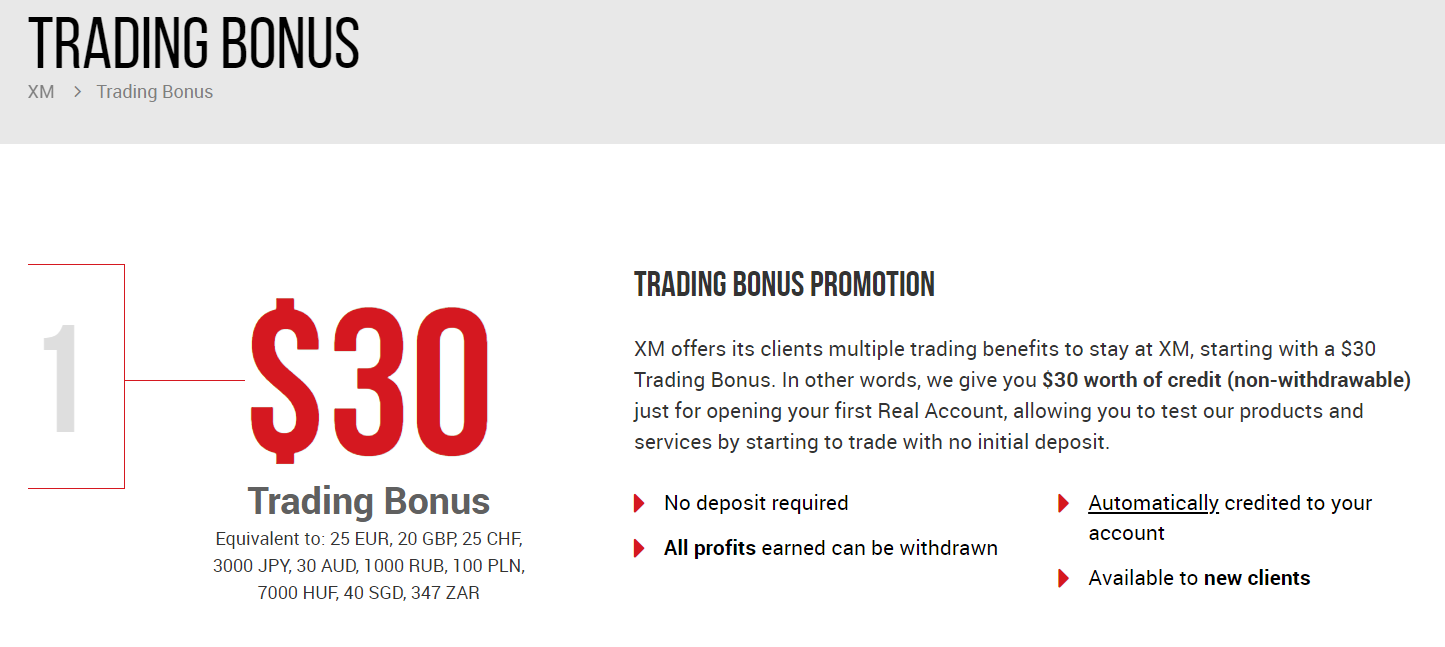 XM $30 No Deposit Bonus Trading Promotion